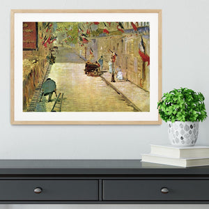 Rue Mosnier with Flags by Manet Framed Print - Canvas Art Rocks - 3