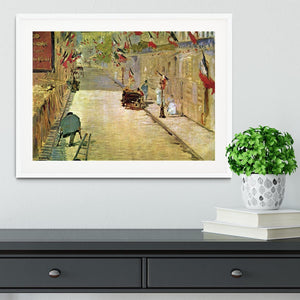 Rue Mosnier with Flags by Manet Framed Print - Canvas Art Rocks - 5