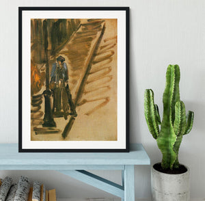 Rue Mossnier with Knife Grinder by Manet Framed Print - Canvas Art Rocks - 1