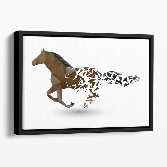 Running horse from the collapsing grounds Floating Framed Canvas