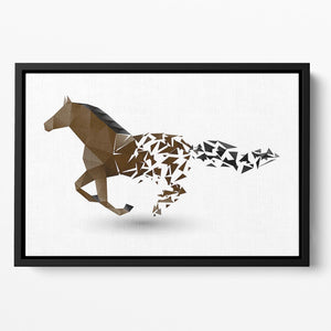 Running horse from the collapsing grounds Floating Framed Canvas - Canvas Art Rocks - 2