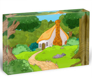 Rural Cartoon Forest Cabin Landscape Acrylic Block - Canvas Art Rocks - 1