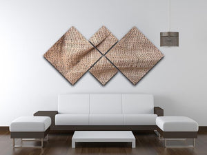 Sackcloth textured 4 Square Multi Panel Canvas  - Canvas Art Rocks - 3