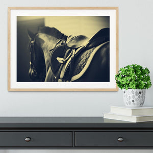 Saddle with stirrups on a back of a sport horse Framed Print - Canvas Art Rocks - 3