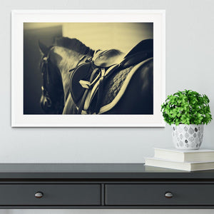 Saddle with stirrups on a back of a sport horse Framed Print - Canvas Art Rocks - 5