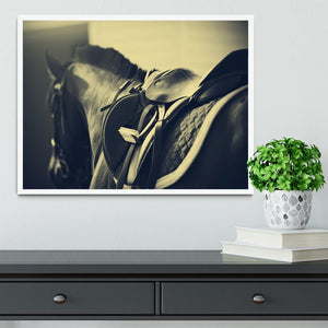 Saddle with stirrups on a back of a sport horse Framed Print - Canvas Art Rocks -6