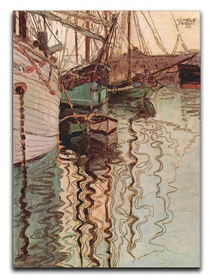 Sailboats in wellenbewegtem water The port of Trieste by Egon Schiele Canvas Print or Poster - Canvas Art Rocks - 1