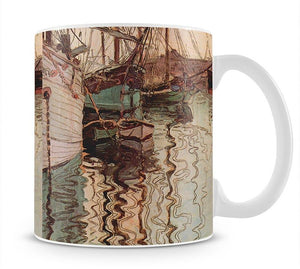 Sailboats in wellenbewegtem water The port of Trieste by Egon Schiele Mug - Canvas Art Rocks - 1