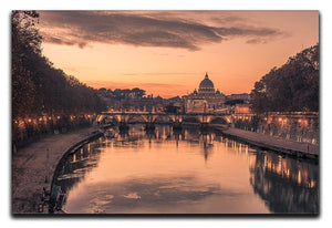 Saint Angelo Bridge and Tiber River in the sunset Canvas Print or Poster  - Canvas Art Rocks - 1