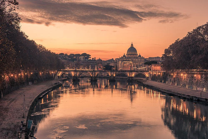 Saint Angelo Bridge and Tiber River in the sunset Wall Mural Wallpaper