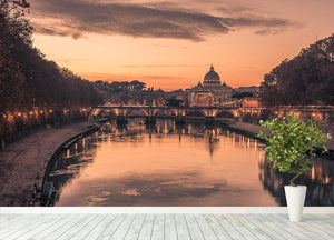 Saint Angelo Bridge and Tiber River in the sunset Wall Mural Wallpaper - Canvas Art Rocks - 4