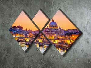 Saint Peter cathedral at night 4 Square Multi Panel Canvas  - Canvas Art Rocks - 2