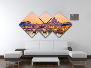 Saint Peter cathedral at night 4 Square Multi Panel Canvas  - Canvas Art Rocks - 3
