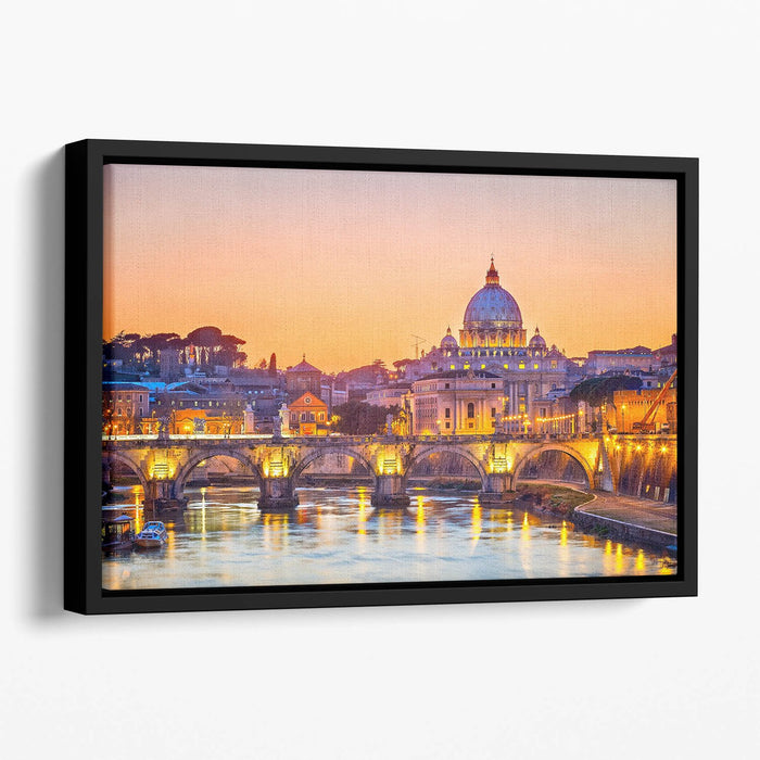 Saint Peter cathedral at night Floating Framed Canvas