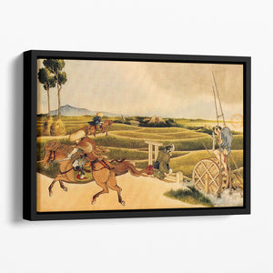 Samurai riding on horses by Hokusai Floating Framed Canvas