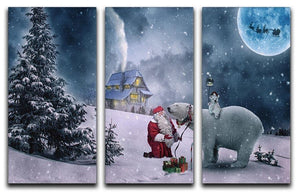 Santa And The Polar Bear 3 Split Panel Canvas Print - Canvas Art Rocks - 1