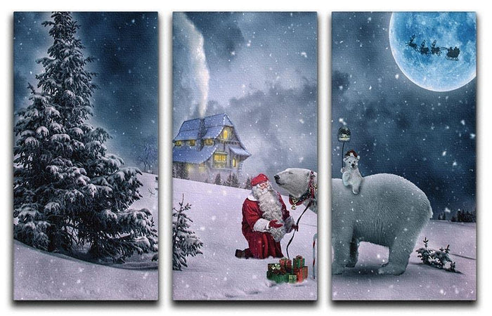 Santa And The Polar Bear 3 Split Panel Canvas Print