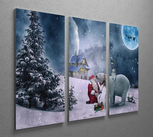Santa And The Polar Bear 3 Split Panel Canvas Print - Canvas Art Rocks - 2