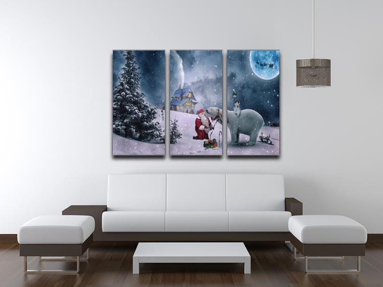 Santa And The Polar Bear 3 Split Panel Canvas Print - Canvas Art Rocks - 3