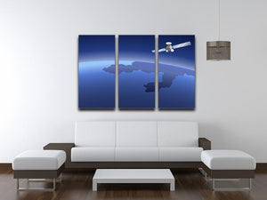 Satellite orbiting around the planet through the space 3 Split Panel Canvas Print - Canvas Art Rocks - 3