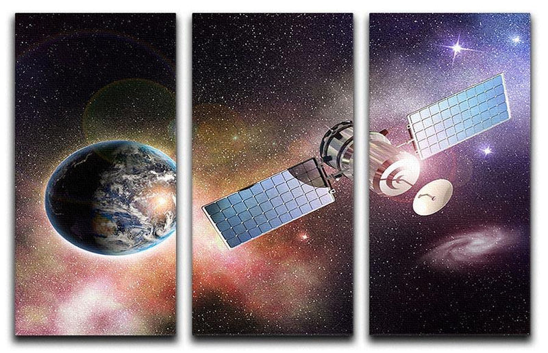 Satellite orbiting the earth in the outer space 3 Split Panel Canvas Print - Canvas Art Rocks - 1