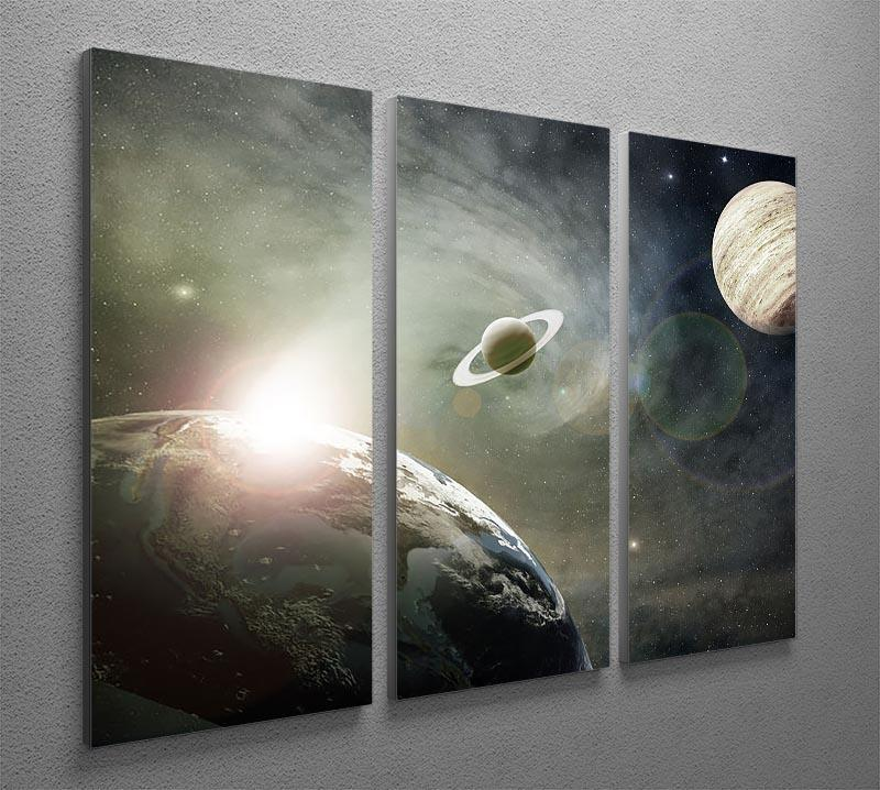 Saturn and Jupiter in a Cosmic Cloud 3 Split Panel Canvas Print - Canvas Art Rocks - 2