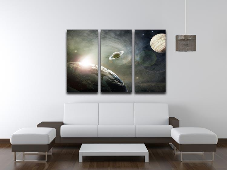 Saturn and Jupiter in a Cosmic Cloud 3 Split Panel Canvas Print - Canvas Art Rocks - 3