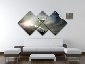 Saturn and Jupiter in a Cosmic Cloud 4 Square Multi Panel Canvas - Canvas Art Rocks - 3