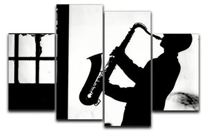 Saxophone player 4 Split Panel Canvas - Canvas Art Rocks - 1