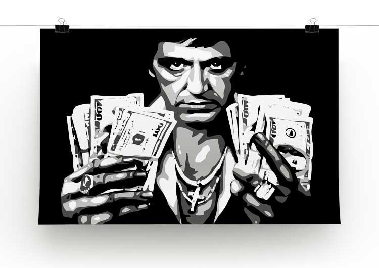 Scarface Holding Dollar Notes Print - Canvas Art Rocks - 2