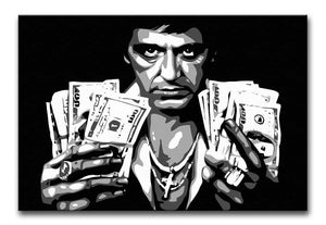Scarface Holding Dollar Notes Print - Canvas Art Rocks - 1