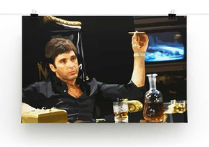 Scarface At His Desk With Cigar Print - Canvas Art Rocks - 2