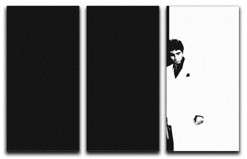 Scarface Black and White 3 Split Panel Canvas Print - Canvas Art Rocks