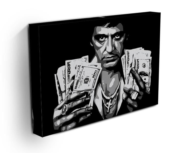 Scarface Holding Dollar Notes Canvas Print & Poster - Canvas Art Rocks