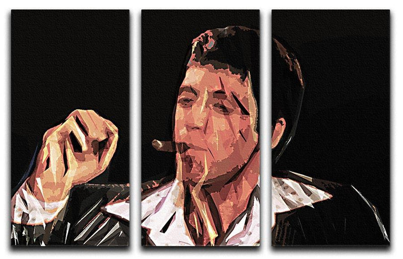 Scarface Smoking Cigar 3 Split Canvas Print - Canvas Art Rocks