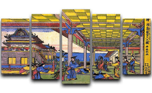 Scene in blue by Hokusai 5 Split Panel Canvas  - Canvas Art Rocks - 1