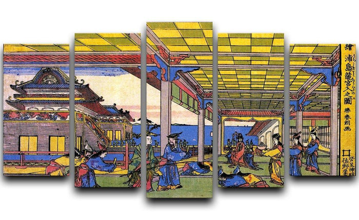 Scene in blue by Hokusai 5 Split Panel Canvas