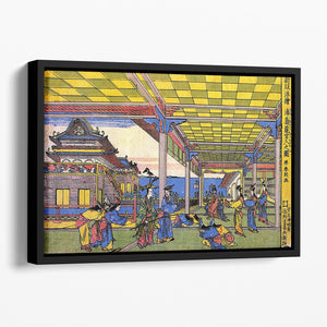 Scene in blue by Hokusai Floating Framed Canvas