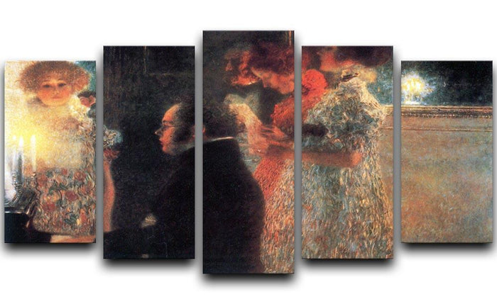 Schubert at the piano by Klimt 5 Split Panel Canvas