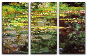 Sea rose pond by Monet Split Panel Canvas Print - Canvas Art Rocks - 4