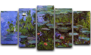 Sea roses by Monet 5 Split Panel Canvas  - Canvas Art Rocks - 1