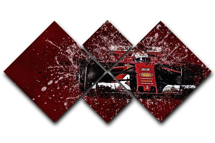 Sebastian Vettel F1 Paint Splatter 4 Square Multi Panel Canvas
