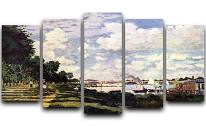 Seine basin near Argenteuil by Monet 5 Split Panel Canvas  - Canvas Art Rocks - 1