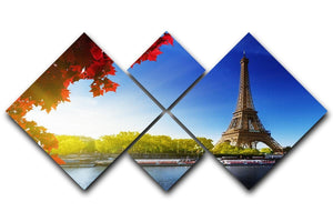 Seine in Paris with Eiffel tower 4 Square Multi Panel Canvas  - Canvas Art Rocks - 1