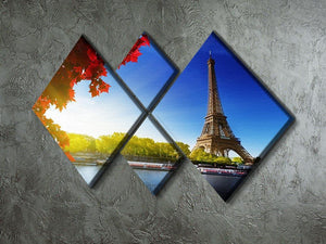 Seine in Paris with Eiffel tower 4 Square Multi Panel Canvas  - Canvas Art Rocks - 2