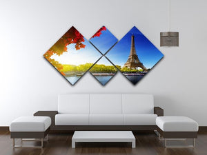 Seine in Paris with Eiffel tower 4 Square Multi Panel Canvas  - Canvas Art Rocks - 3