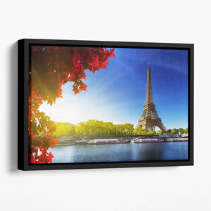 Seine in Paris with Eiffel tower Floating Framed Canvas