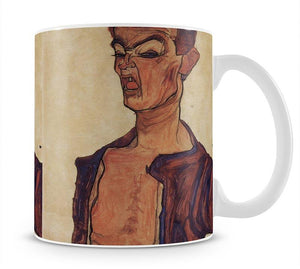 Self-Portrait a grimace scissoring by Egon Schiele Mug - Canvas Art Rocks - 1