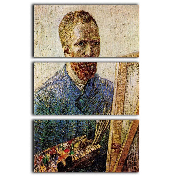 Self-Portrait in Front of the Easel by Van Gogh 3 Split Panel Canvas Print
