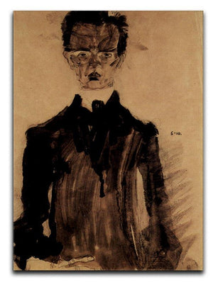 Self-Portrait in a black robe by Egon Schiele Canvas Print or Poster - Canvas Art Rocks - 1
